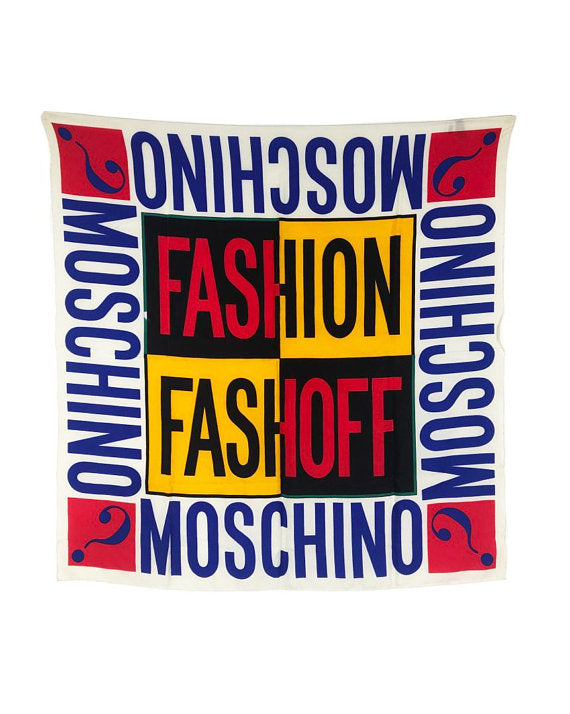 FRUIT Vintage Moschino logo Monogram Slogan Scarf Fashion Fashioff