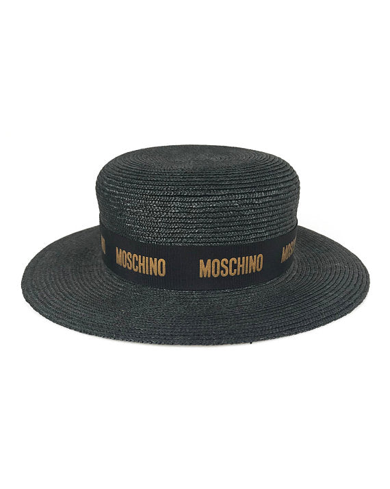 Moschino Black Straw Logo Boater Hat – FRUIT Vintage f38fc4c5a45