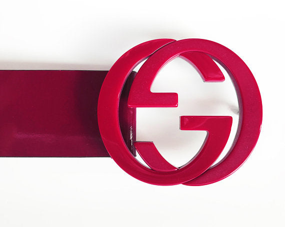 Fruit Vintage 1990s Gucci Red Patent Leather belt with a acrylic double G Logo Monogram Buckle.