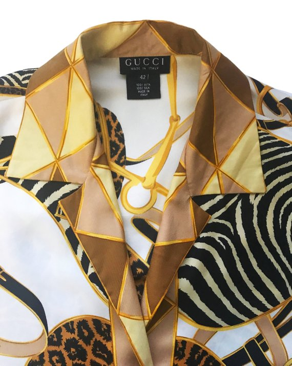 Fruit Vintage Gucci rare 1980s silk animal logo print shirt blouse