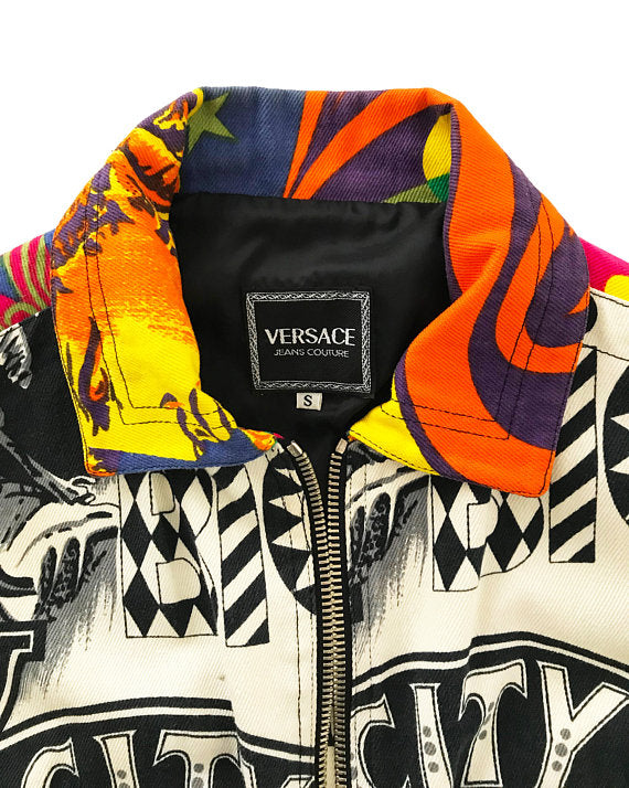 Fruit Vintage Versace Jeans Couture Rare Manhattan New York City Print Bomber Jacket by Gianni Versace
