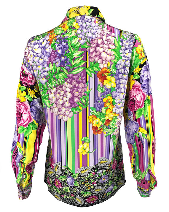 Fruit Vintage Versus by Gianni Versace 1990s Floral Print Silk Shirt