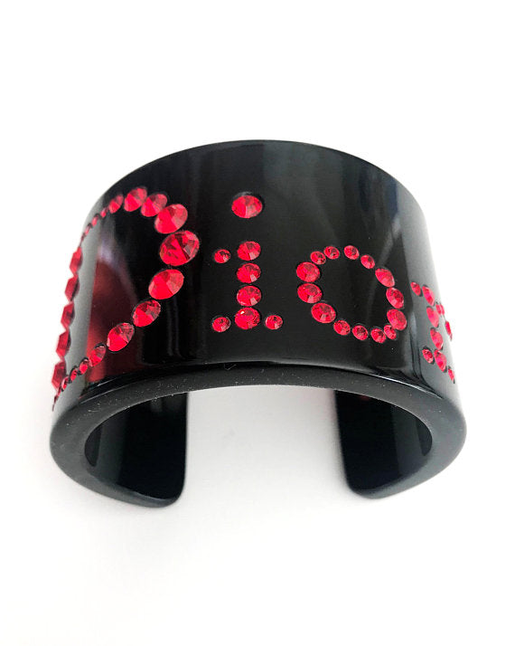 FRUIT vintage Christian Dior Red and Black diamonte embellished logo monogram plastic cuff bracele