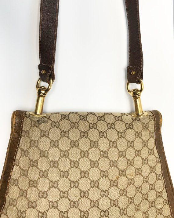 FRUIT Vintage Gucci 1973 Blondie logo monogram canvas shoulder bag
