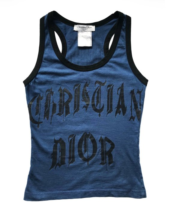 Fruit Vintage Christian Dior Gothic text Logo tank dating to John Galliano 1947 Dior logo monogram text