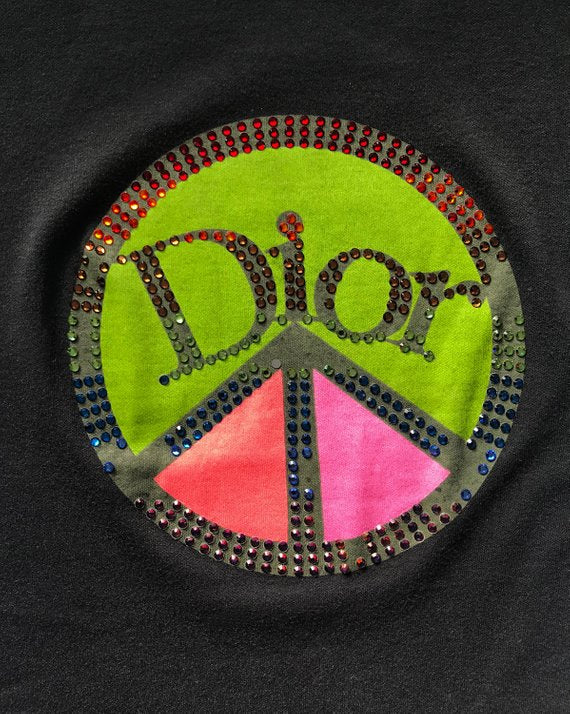 Fruit Vintage Christian Dior 1990s tank designed by John Galliano with a graphic crystal embellished Peace sign monogram logo.