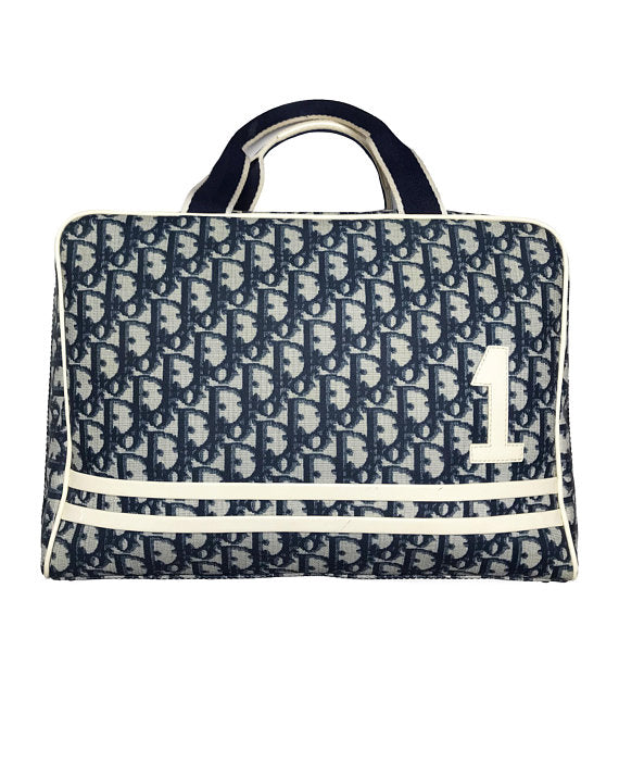 FRUIT vintage iconic Christian Dior by John Galliano navy coated monogram canvas trotter zipper tote bag with the famous number and racing stripe detailing at front