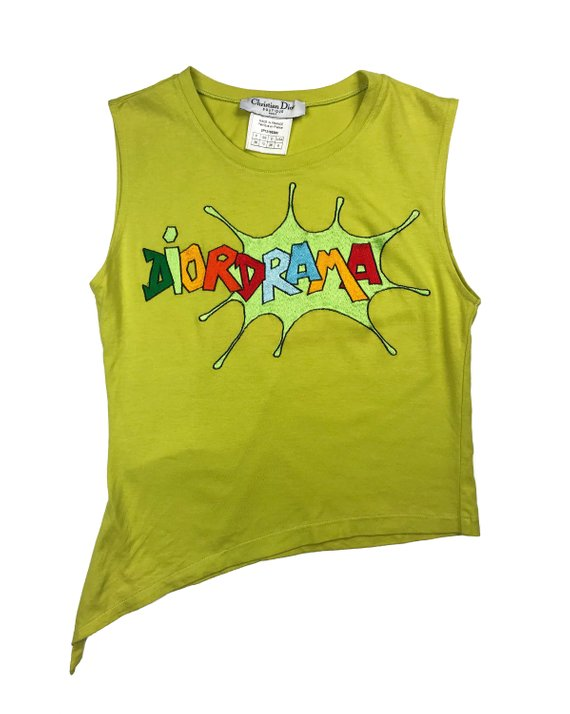 Fruit Vintage rare Christian Dior 1990s tanks designed by John Galliano with a graphic Logo embroidery emblazoned with the word 'Dior Drama'. This tank was recently worn by Kylie Jenner on her instagram