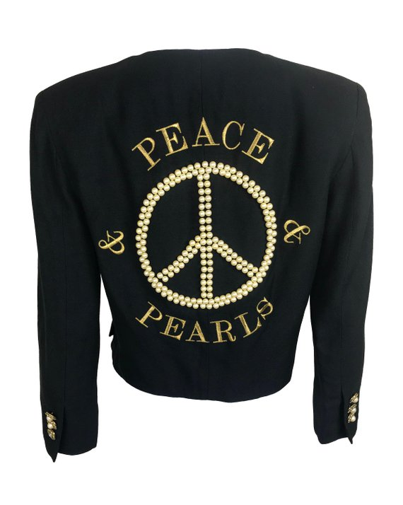 Moschino Rare 1989 Peace and Pearls Logo Jacket