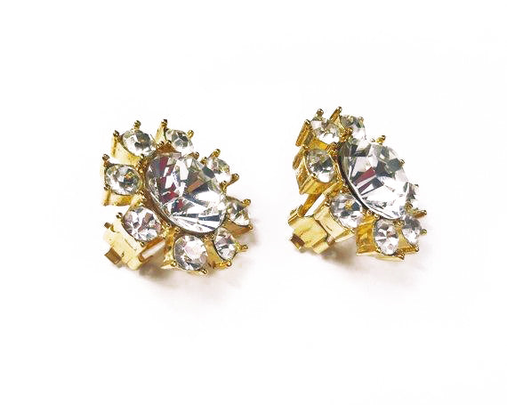 Fruit Vintage Yves Saint Laurent 1980s clip-on floral shaped rhinestone crystal earrings.