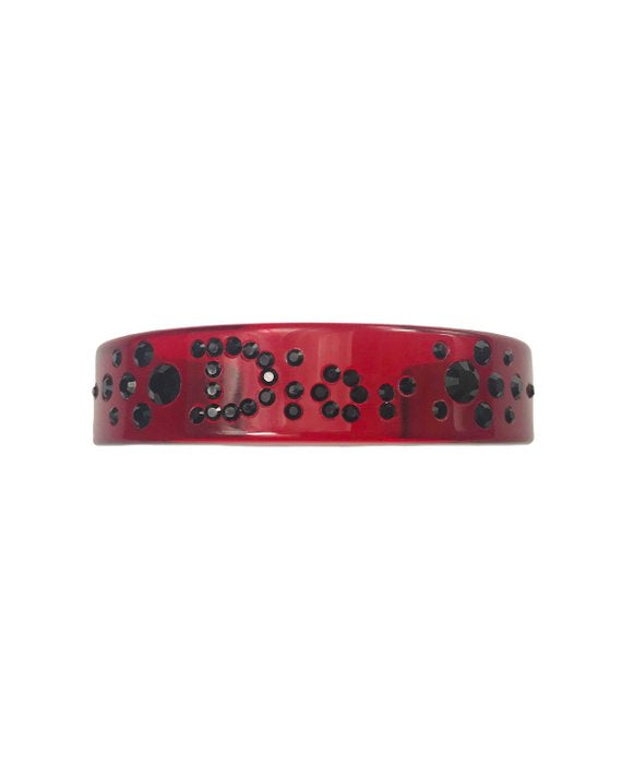 FRUIT vintage Christian Dior Red and Black diamonte crystal embellished logo monogram plastic cuff bracelet bangle.