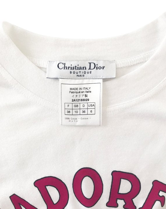 Christian Dior J'adore Dior Cartoon Logo Print T-Shirt