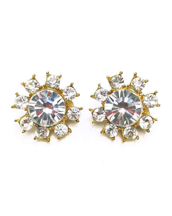 Yves Saint Laurent 1980s Crystal Clip On Earrings