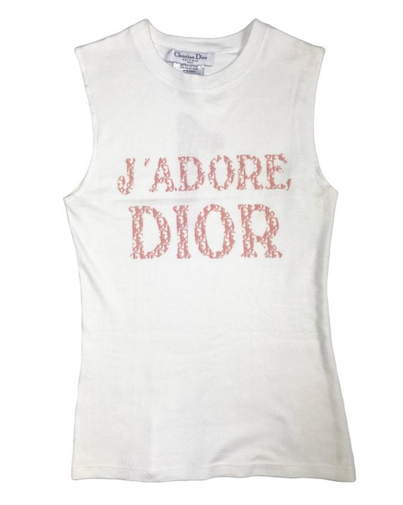 Fruit Vintage Christian Dior J'adore Dior tank by John Galliano, this classic white tank features the oblique trotter monogram print in pink.