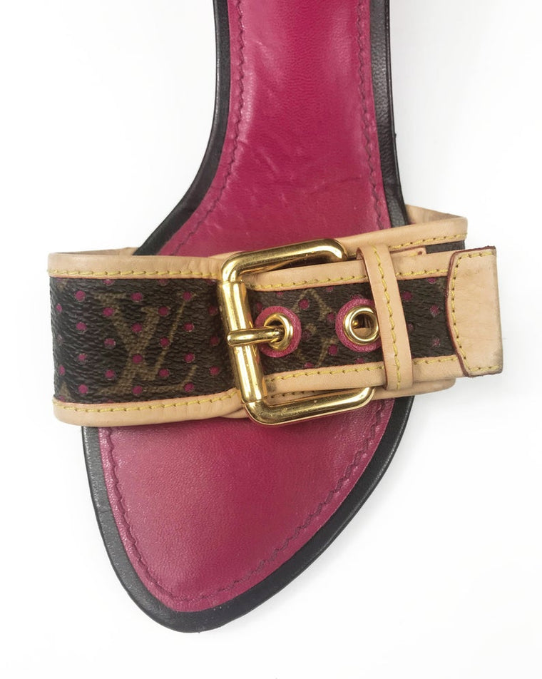 FRUIT Vintage Louis Vuitton kitten heels monogram canvas mules with logo buckles. Feature a perforated logo canvas with pink trim and classic tan leather.