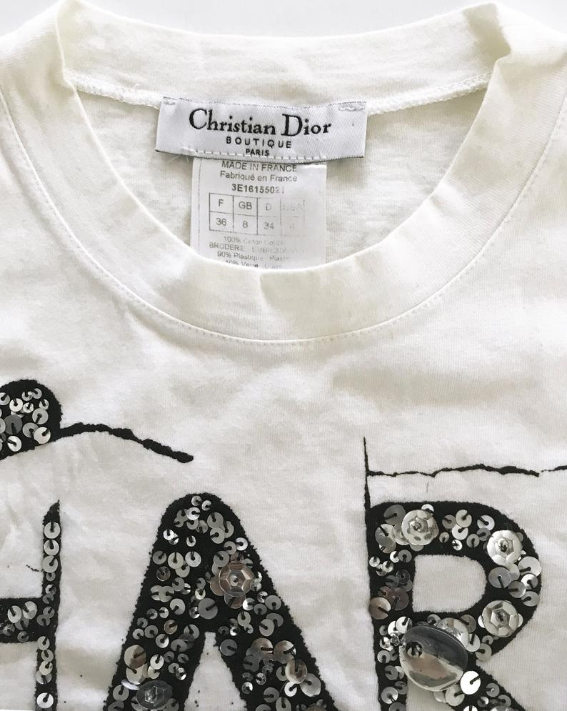 Fruit Vintage Christian Dior logo logo t-shirt printed with 'Hardcore Dior' and featuring sequin embellishment