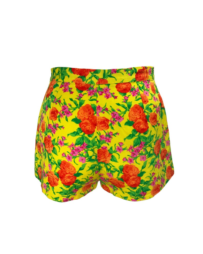 FRUIT Vintage 90s Versus Versace by Gianni Versace shorts in vibrant neon floral. Cut for a high waist and short thigh, a perfect summer statement piece!