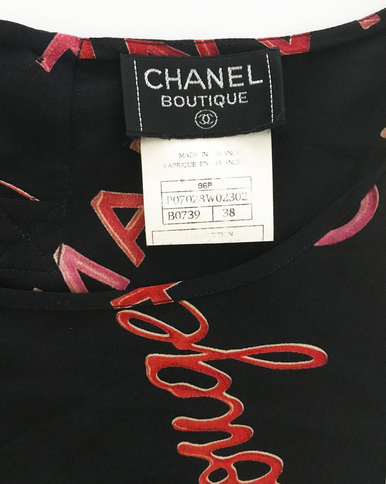 FRUIT Vintage Chanel Logo text silk tank top 'Rouge' print from the important Spring Summer 1996 collection