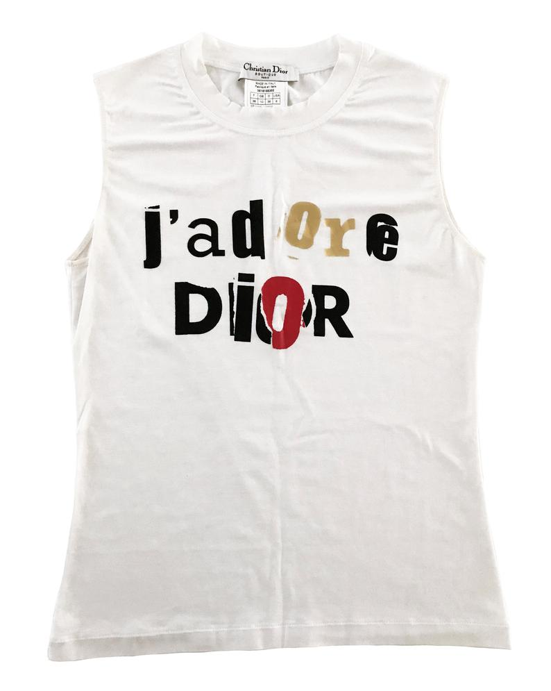 Fruit Vintage Christian Dior J'adore Dior news print logo monogram tank by John Galliano, this classic tank is one of those iconic pieces that simply never dates.