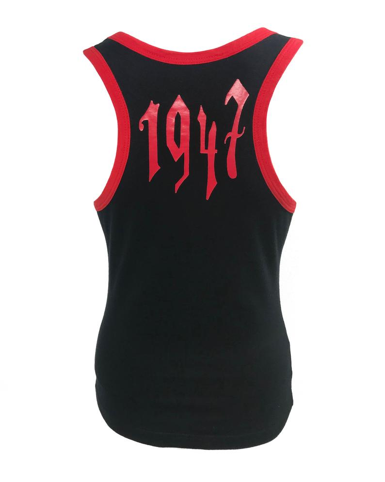 Fruit Vintage Christian Dior tank designed by John Galliano with Gothic text Logo. Features a classic racer tank cut and graphic print with Christian Dior across the front and 1947 across the back
