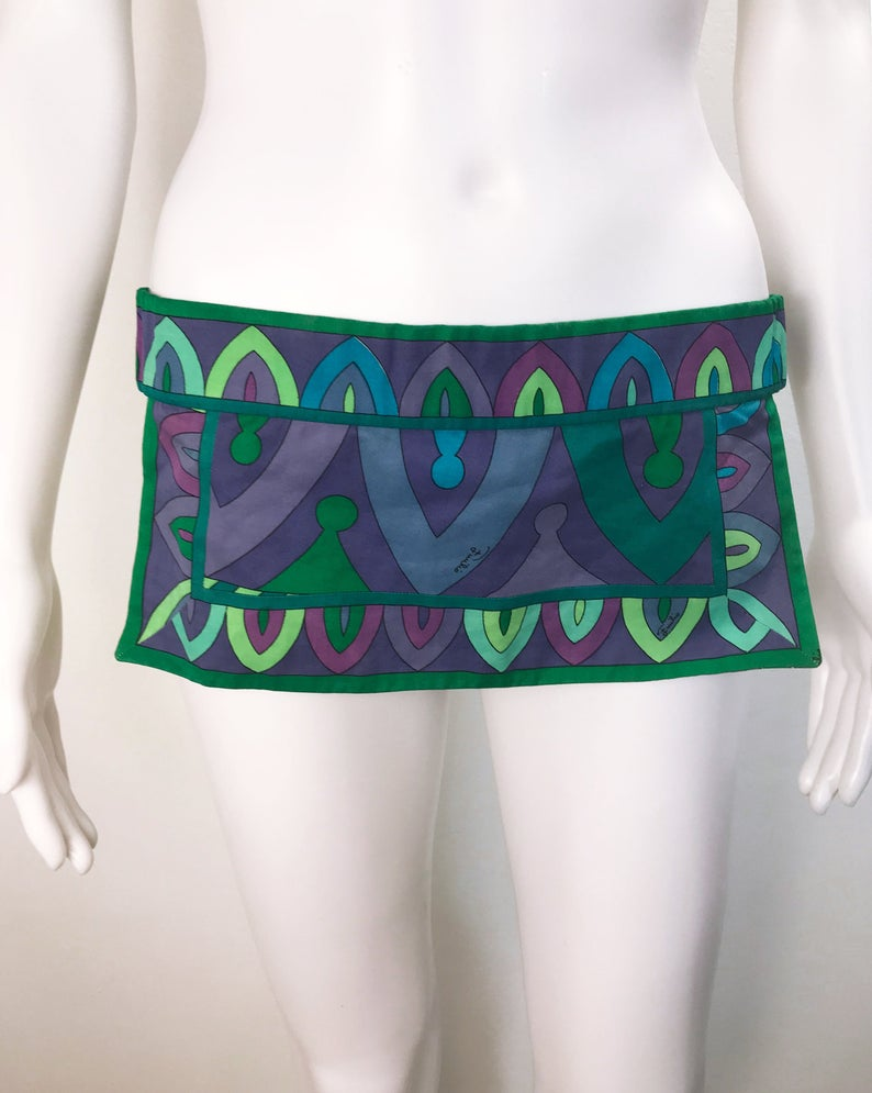 FRUIT vintage Emilio Pucci 1960s cotton handmade psychedelic pucci print bikini. In original, mint/unworn condition, this is a holy grail collectors piece
