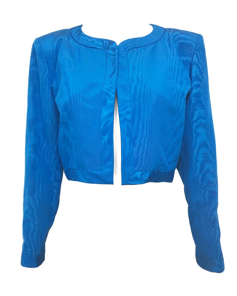 Yves Saint Laurent 1980s Blue Crop Jacket