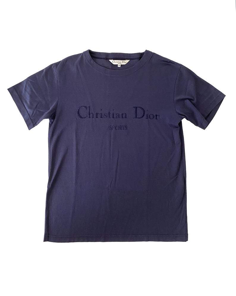 Fruit Vintage Christian Dior Sport Blue Logo 1980s t-shirt. It features a large embroidered logo design at front and slightly oversized cut.