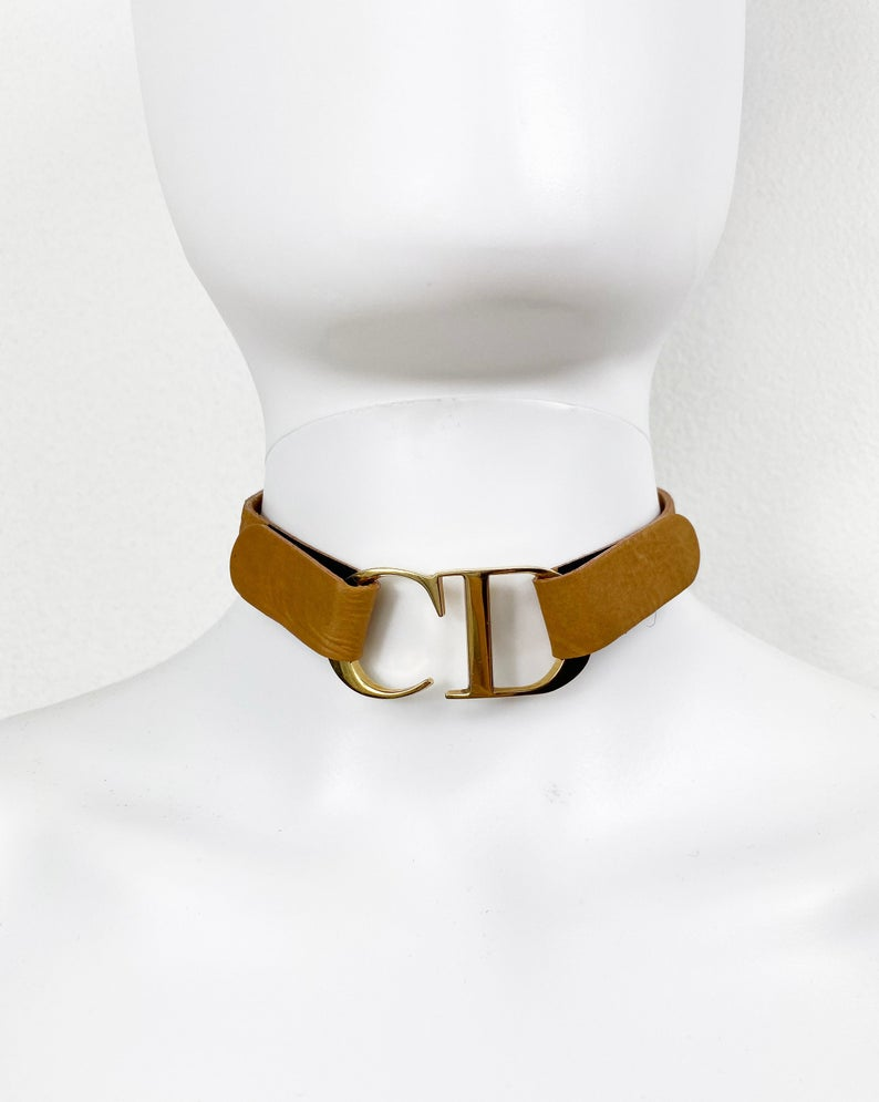 Fruit Vintage Christian Dior rare CD logo leather choker designed by John Galliano, dating to the iconic Fall/Winter 2000 collection.
