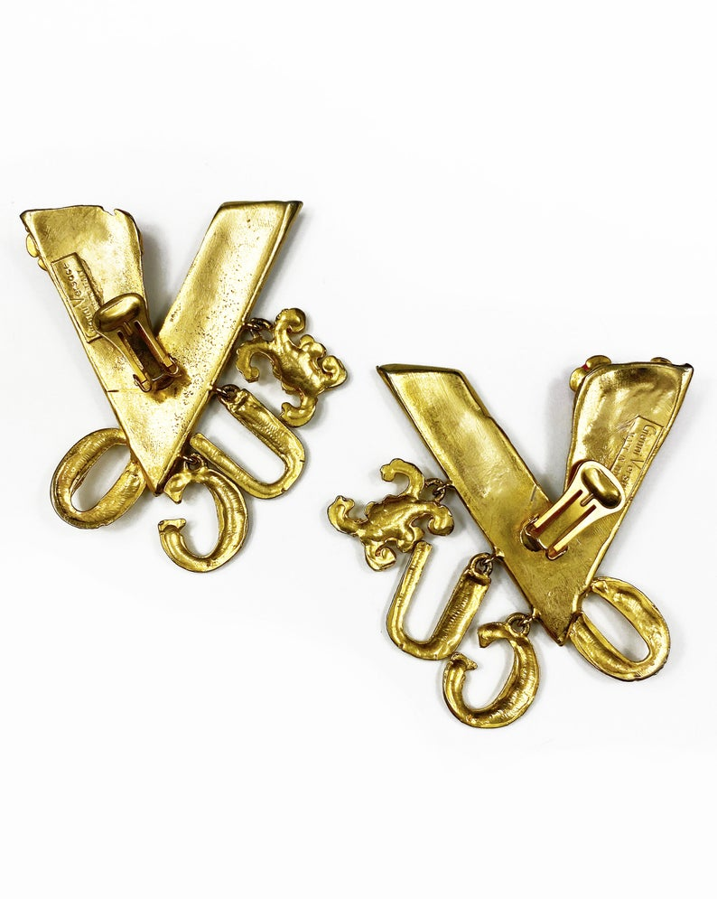 Fruit Vintage Giannia Versace Vogue earrings. Incredibly rare and collectible from the Gianni Versace 1991 'Vogue' runway collection. These are a lifetime Gianni Versace style that were worn on the runway in 91, they are a piece of Versace history!
