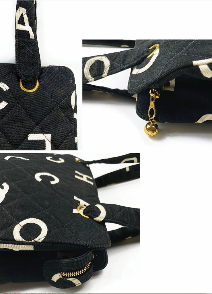Fruit Vintage Chanel rare 1997 quilted logo monogram letter canvas zipper tote as seen on Ariana Grande