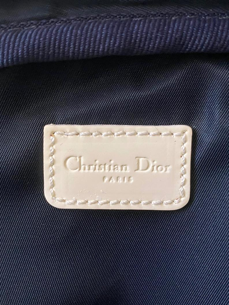 FRUIT vintage very rare Christian Dior by John Galliano Navy logo monogram trotter oblique canvas zipper tennis racquet racket cover bag.