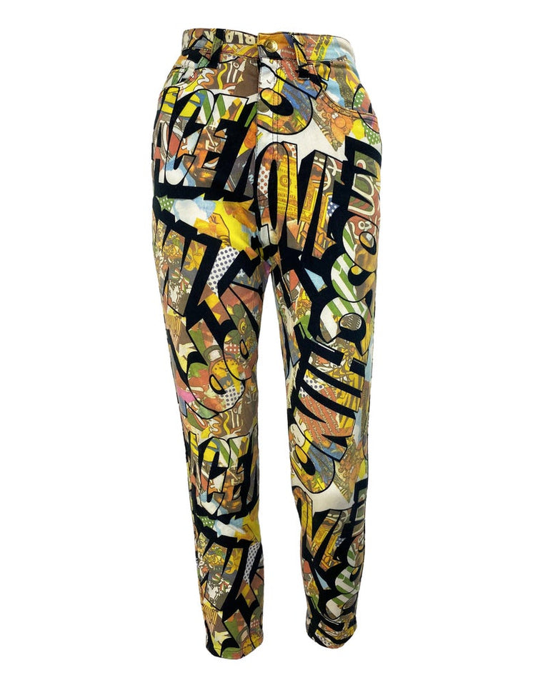 Moschino Rare 1990s Cartoon Print Jeans