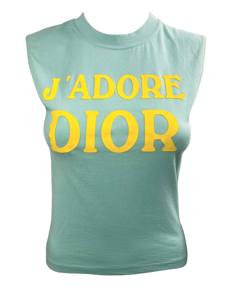 Fruit Vintage Christian Dior J'adore Dior sea foam green blue tank by John Galliano, feature a flocked logo monogram print.