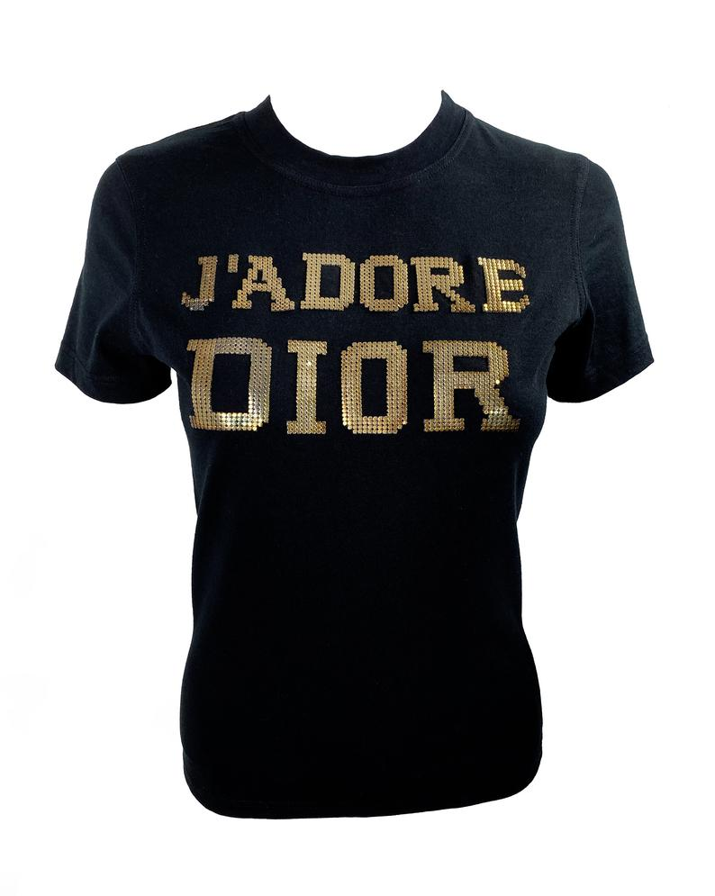 Fruit Vintage rare Christian Dior J'adore Dior logo monogram tee featuring a textured gold glomesh print front and back. This style was recently worn by Kylie Jenner and is very hard to find!