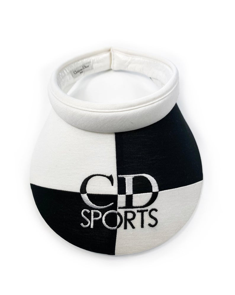 FRUIT Vintage Christian Dior Sport 1980s  logo embroidered visor. Made from black and white jersey cotton it features a large CD Sport logo embroidered across the front. Comes with original tags!