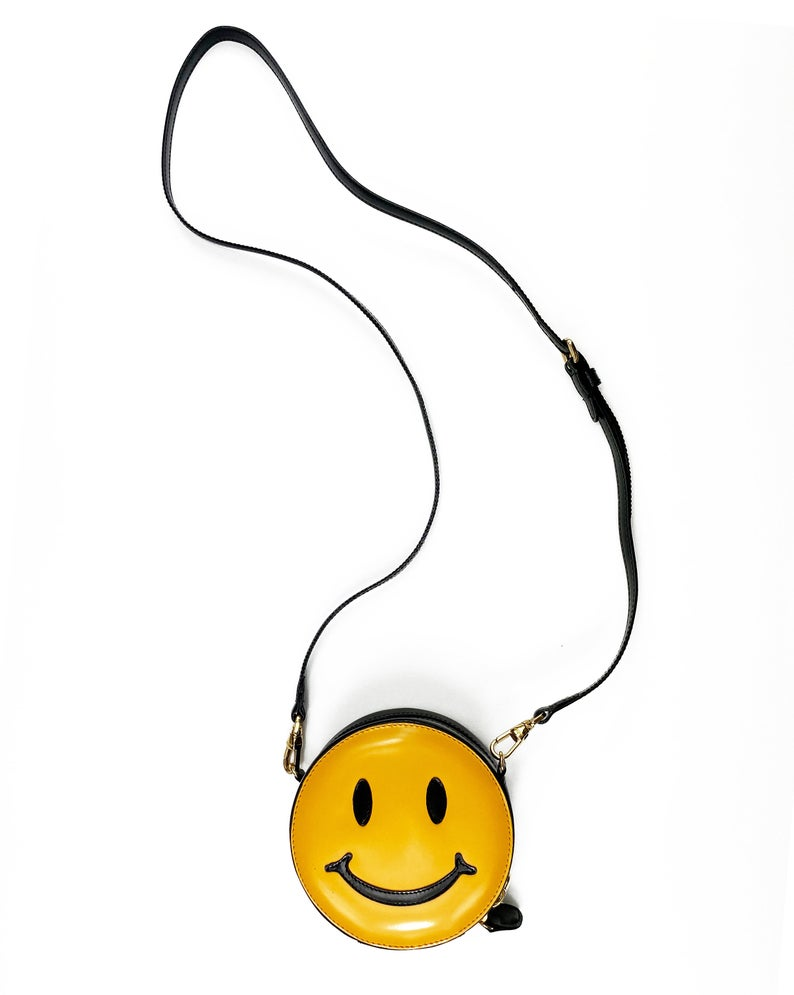 FRUIT Vintage Moschino Smiley Face Bag with cross body strap. Rare 1990s iconic Moschino mini yellow face logo handbag.
