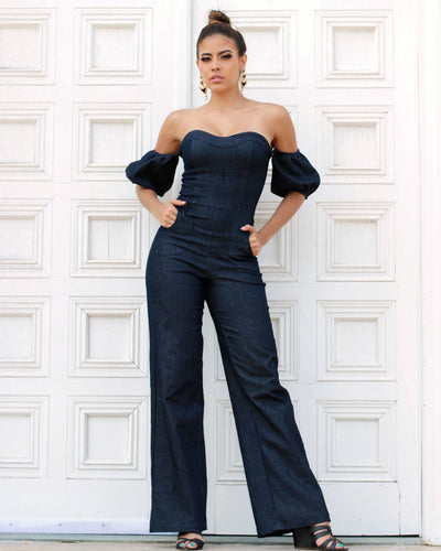 denim dressy jumpsuit and romper for women