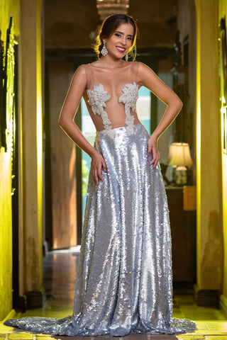 Kim Sequin & Rhinestone Formal Dress in Silver