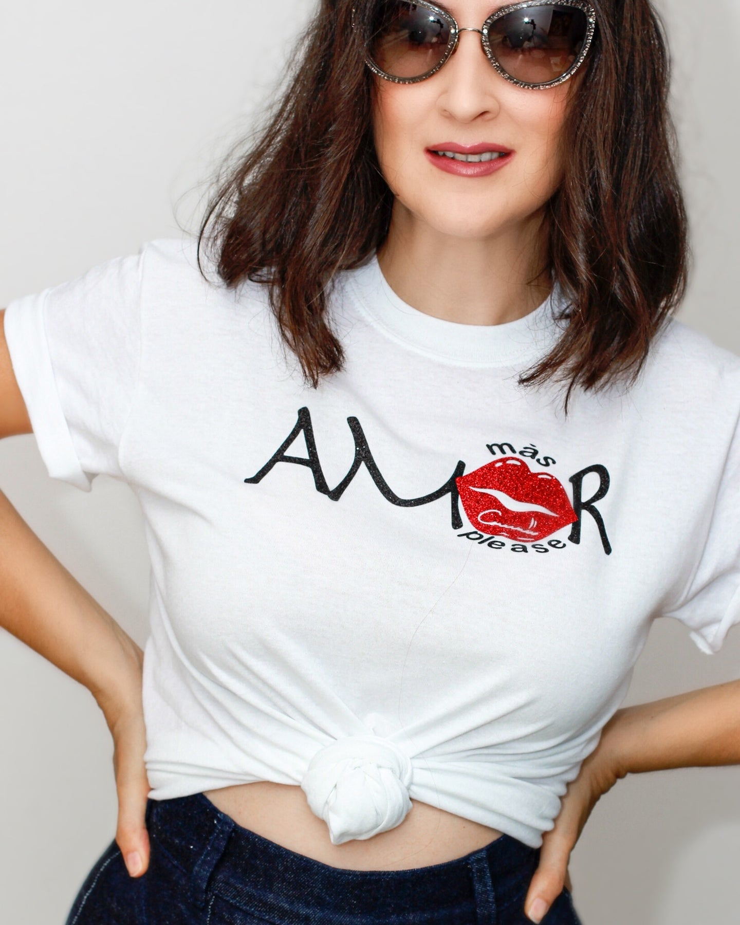 mas amor please! white Graphic t-shirt for women