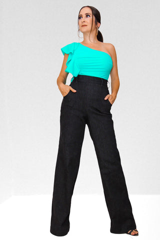 Style It Up High Waist Black Denim Palazzo Pants
