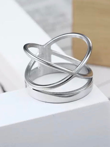 Stella Stainless Steel Adjustable Ring in Silver