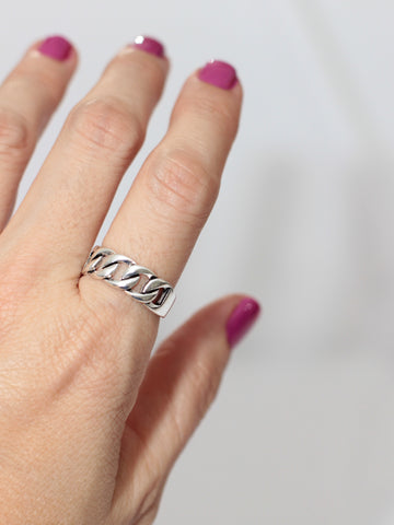 Luxor Sterling Silver Adjustable Link Ring