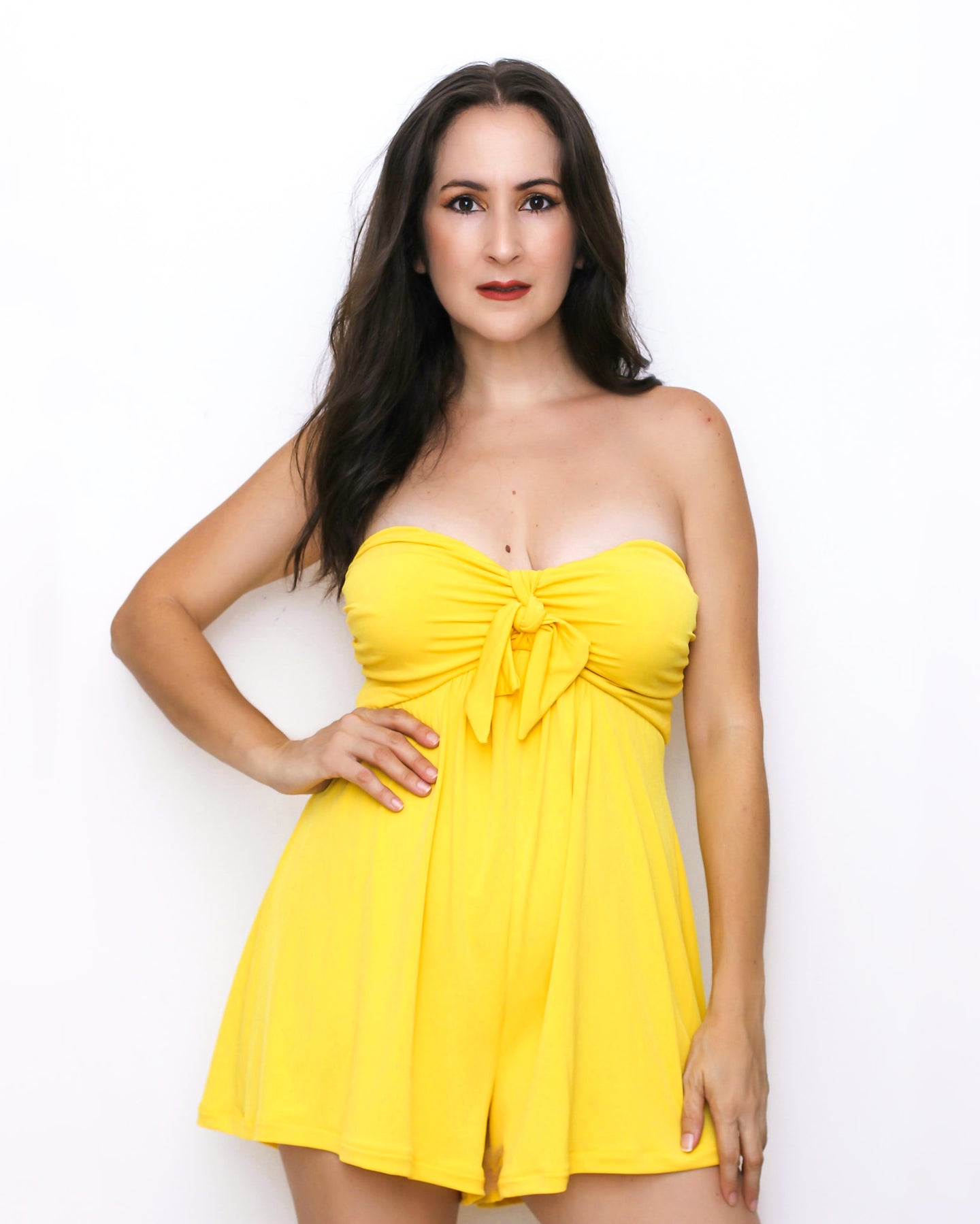Flowy Sweetheart Yellow Romper