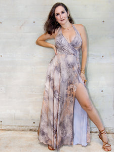 animal print halter maxi dress