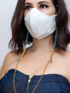 Turquoise Crystal Face Mask Chain