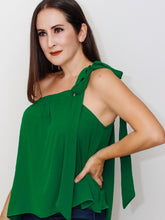 one shoulder women's blouse in emerald green