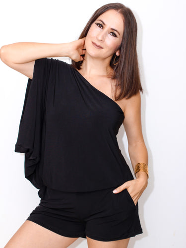 Comfy Vibes One Shoulder Blouson-Black Romper