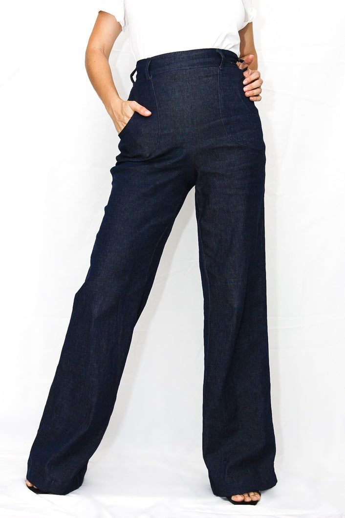 women's high waisted dressy denim pants with pockets