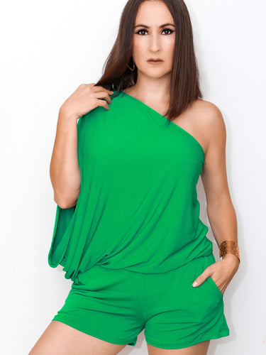 Comfy Vibes One Shoulder Blouson-Green Romper