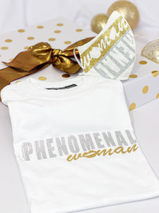 phenomenal women graphic tee and face mask matching set